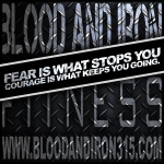 blood and iron fitness 315 motivation poster logo courage