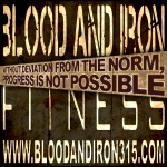 blood and iron fitness 315 motivation poster logo progress